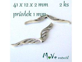 Korálek kovový 41x12x2mm křídla, 2ks, starostříbrný