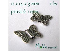 Korálek kovový 11x14x3mm motýl, 1ks, starostříbro