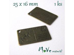 Přívěsek POST CARD 25x16mm, 1ks, staromosaz