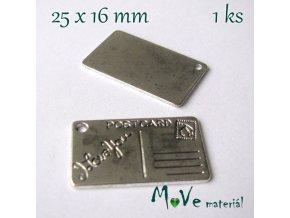 Přívěsek POST CARD 25x16mm, 1ks, starostříbro