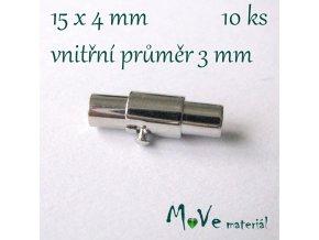 Magnetické zapínání 15x4mm 1ks, platina