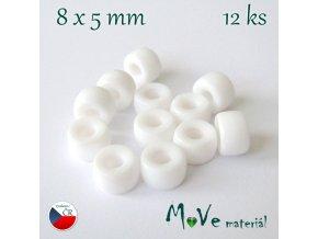 České skleněné korálky 8x5mm, 12ks, bílé