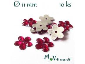 Květina plast 11mm našívací 10 ks růžová