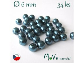 České voskové perle 6mm, 34ks (cca 10g), tyrkysové