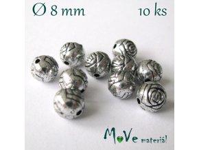 Korálek plast kulička 8mm/10ks, starostříbrný