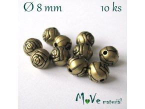 Korálek plast kulička 8mm/10ks, staromosazný