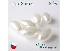 České voskové perle olivka 6ks, bílá