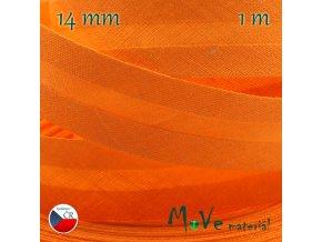 Šikmý proužek bavlna š.14mm zažehlený oranžový