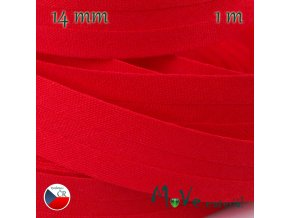 Šikmý proužek bavlna š.14mm zažehlený červený