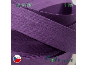 Šikmý proužek bavlna š.14mm zažehlený fialový