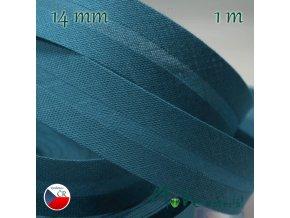 Šikmý proužek bavlna š.14mm zažehlený petrolejový