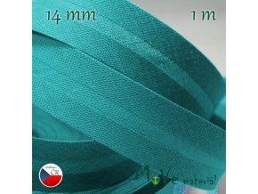 Šikmý proužek bavlna š.14mm zažehlený tyrkysový