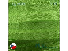 Šikmý proužek bavlna š.14mm zažehlený zelený