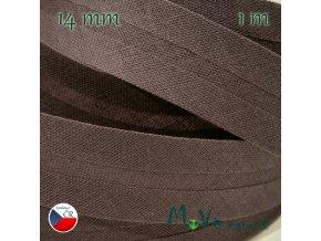 Šikmý proužek bavlna š.14mm zažehlený šedohnědý