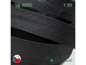 Šikmý proužek bavlna š.14mm zažehlený černý