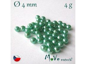 České voskové perle zelené 4mm, 4g