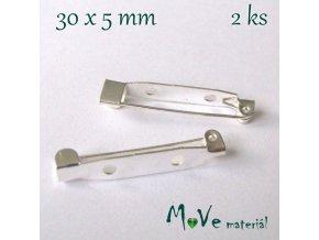 Brožový můstek 30x5mm univerzální, 2kusy, stříbrný