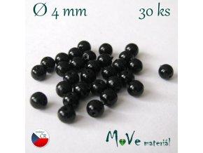 České voskové perle černé 4mm, 30ks