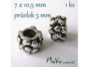 Korálek kovový zdobený, 1 kus, starostříbro