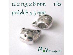 Korálek kovový kočka, 1 kus, starostříbro