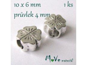 Korálek kovový čtyřlístek, 1 kus, starostříbro