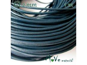Kulatá přírodní kůže 2mm/1m, tm. modrá