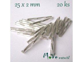 Rokajl 25x2mm, 20ks, tyčky, stříbrné