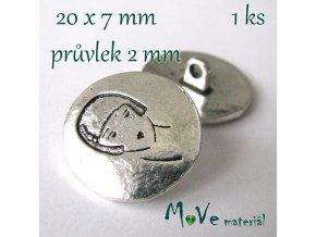 Bižuterní kovový knoflík 20x7mm, 1ks