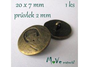 Bižuterní kovový knoflík 20x7mm, 1ks, staromosaz