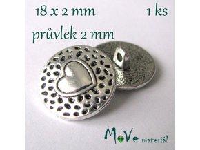 Bižuterní kovový knoflík 18x2mm, 1ks