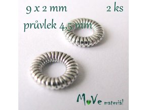 Korálek kovový zdobený, 2 kusy, starostříbro