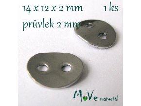 Bižuterní kovový knoflík 14x7mm, 1ks