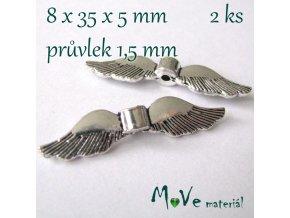 Korálek kovový 8x35x5mm křídla, 2ks, starostříbrný