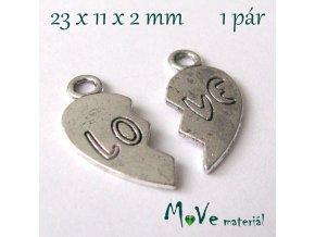 Přívěsek LOVE 23x11x2mm, 1ks, starostříbro