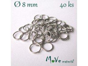 Spojovací kroužek průměr 8mm, 40ks, platina