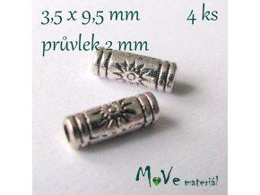 Korálek kovový trubička, 4kusy, starostříbro
