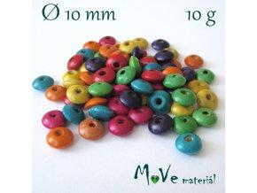Dřevěný korálek disk 10mm, 10g, mix I