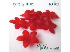 Akrylové transparentní květy 17x4mm, 10ks, červené