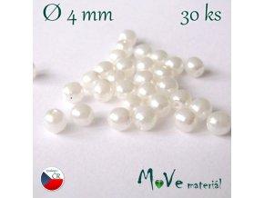 České voskové perle bílé 4mm, 30ks
