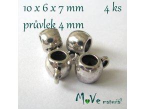 Korálek kovový 10x6x7mm závěsný, 4ks