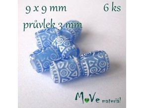 Korálek s šir.průvlekem akrylový/6kusů, modrý