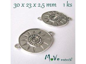 Mezikus 30x23x2,5mm, 1ks, starostříbro