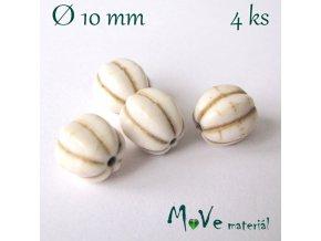 Howlitový korálek vroubkovaný 10mm, 4ks