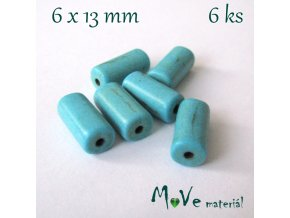 Korálky syntetický tyrkenit 6x13mm/6ks