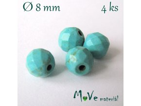 Broušený syntetický tyrkenit 8mm/4ks, zelenomodrý