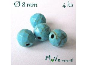 Broušený syntetický tyrkenit 8mm/4ks, tyrkysový