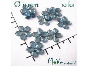 Květina plast 11mm našívací 10 ks modrá