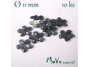 Květina plast našívací 10 ks šedomodrá