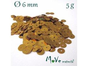 Flitry hladké 6mm, 5g, zlaté