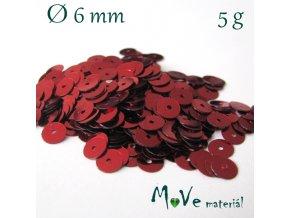 Flitry hladké 6mm, 5g, červené